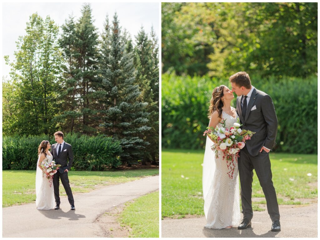 Taylor & Jolene - Emerald Park Wedding - 09 - Bride & Groom share a moment in the park