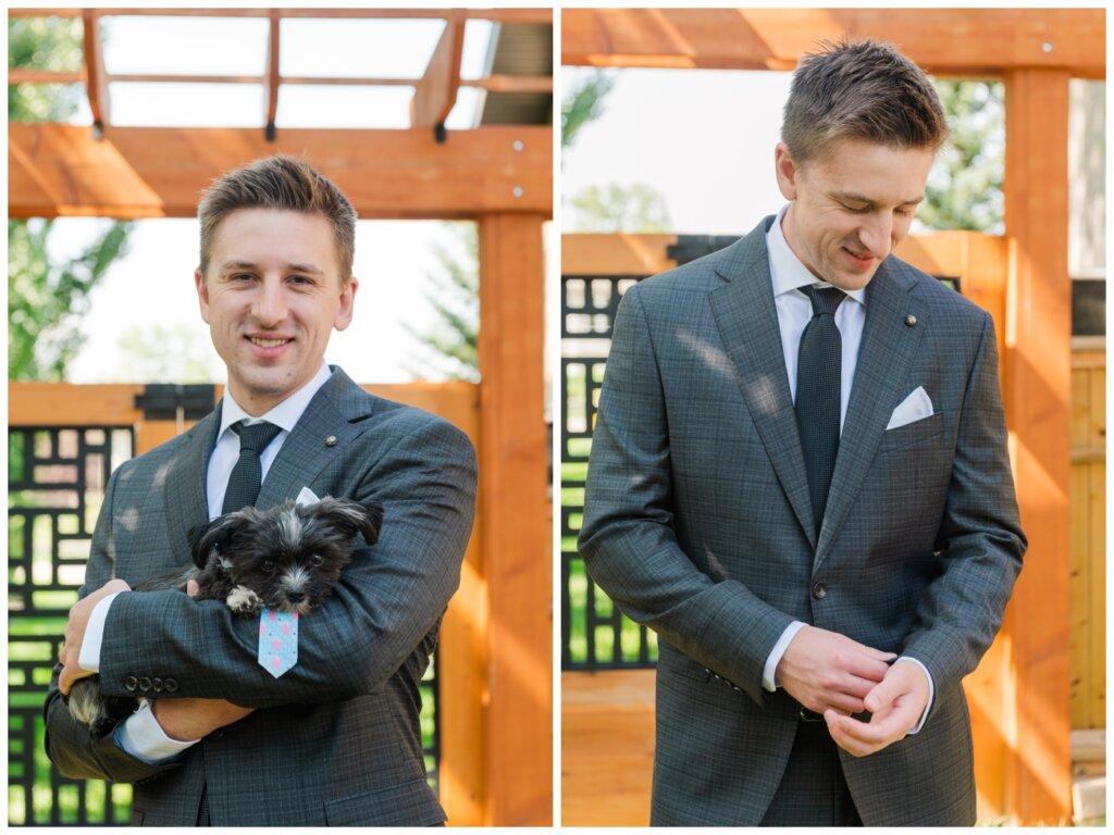 Taylor & Jolene - White City Wedding - 02 - Groom preparation with Ring Bearer Puppy