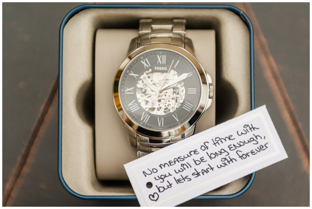 Andrew & Lacey - 01 - Groom Gift of a Fossil Watch