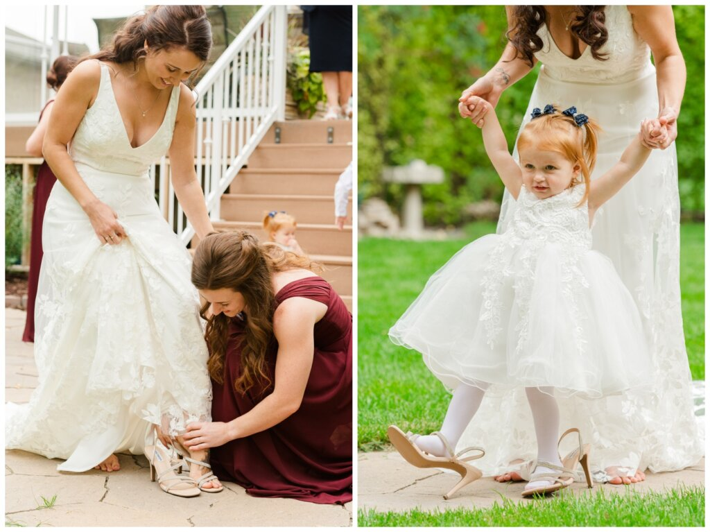Andrew & Lacey - 10 - Flowergirl wearing bride's steve madden shoes