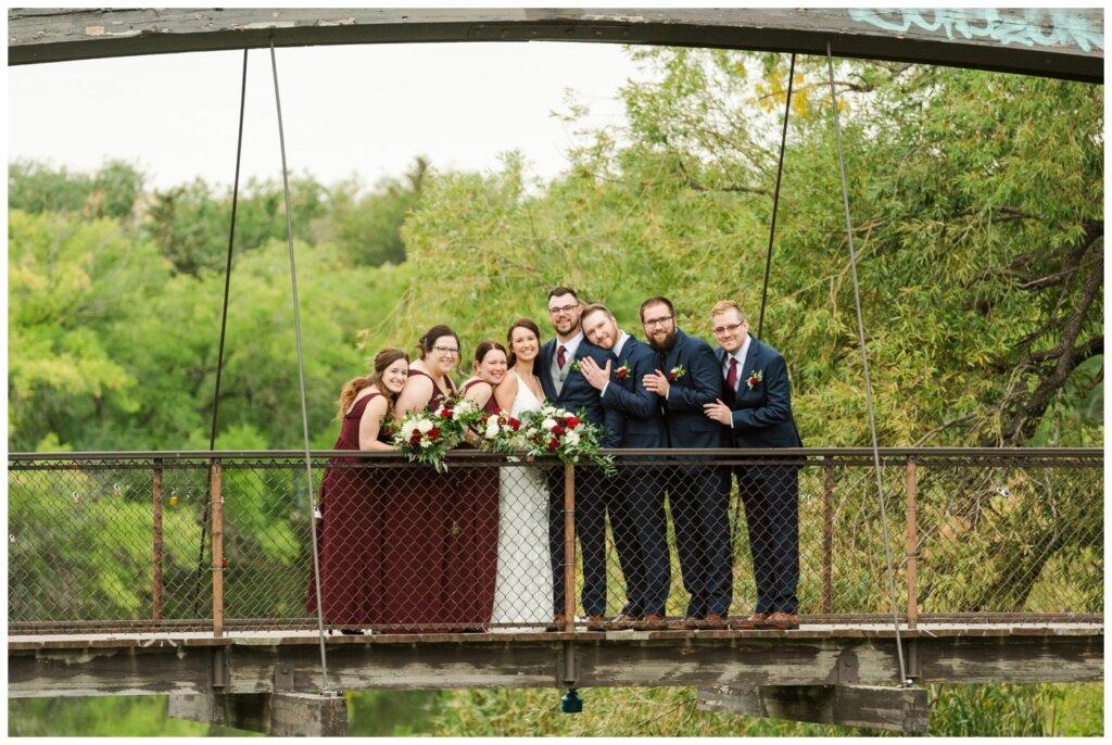 Andrew & Lacey - 23 - Wedding Party on Bridge at Kiwanis Park