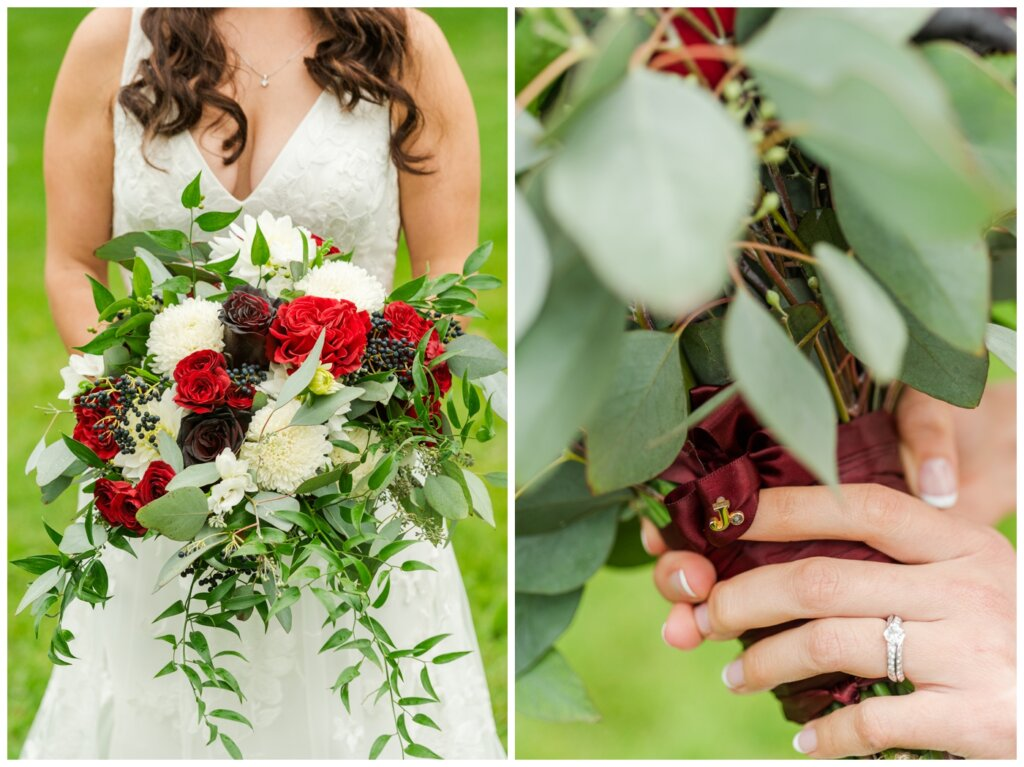 Andrew & Lacey - 30 - Bride with special pin for Grandpa Jack with flowers from Wascana Flower Shoppe