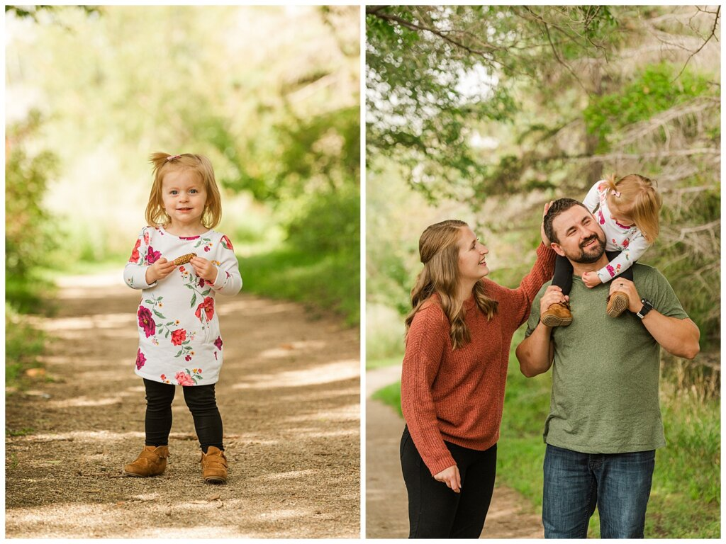 Eyre Family 2021 - AE Wilson Park - Family Photo Shoot - 07 - Daughter collecting pinecones