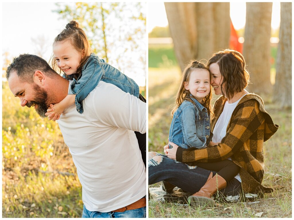 Kim & Lisa Korchinski - White Butte Trails - Family Photo Session 2021 - 02 - Daughter on dad's shoulders and sitting on mom's lap