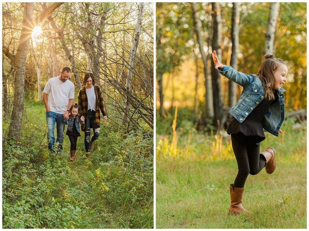 Kim & Lisa Korchinski - White Butte Trails - Family Photo Session 2021 - 06 - Family walking in the woods