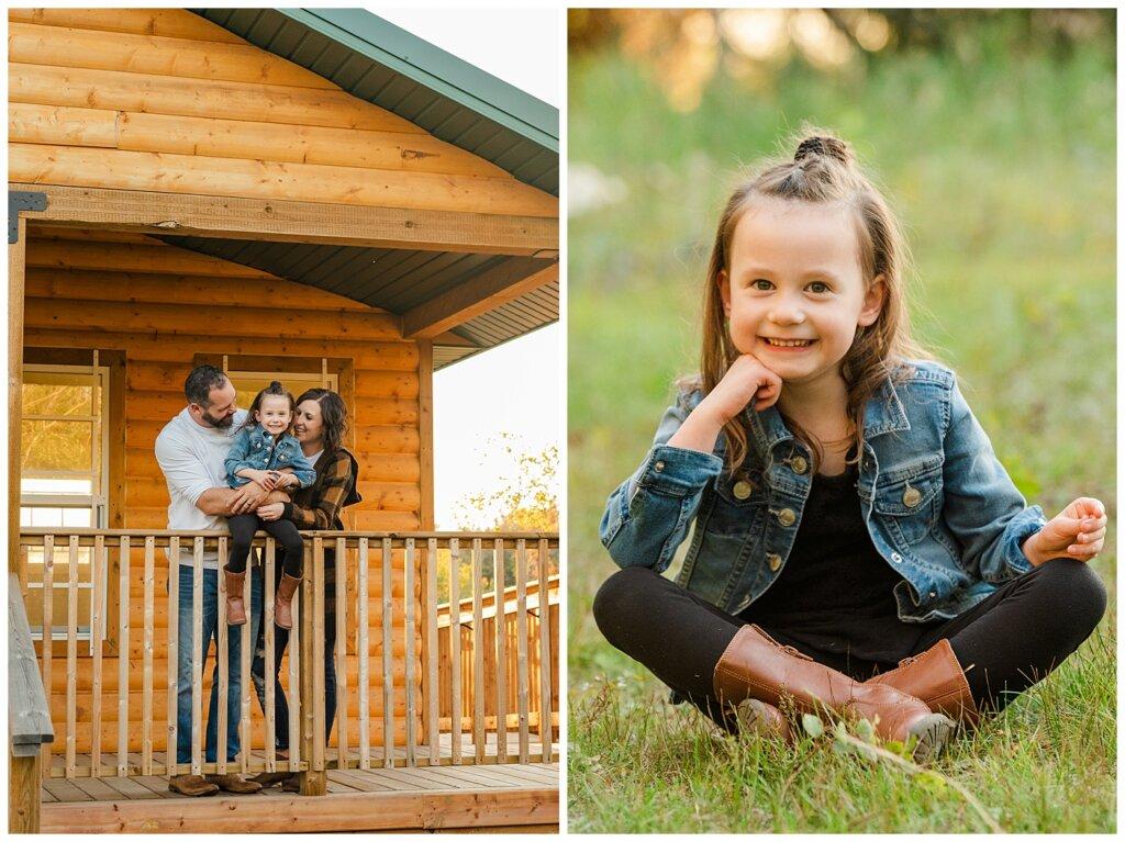 Kim & Lisa Korchinski - White Butte Trails - Family Photo Session 2021 - 09 - Family at cabin in the woods