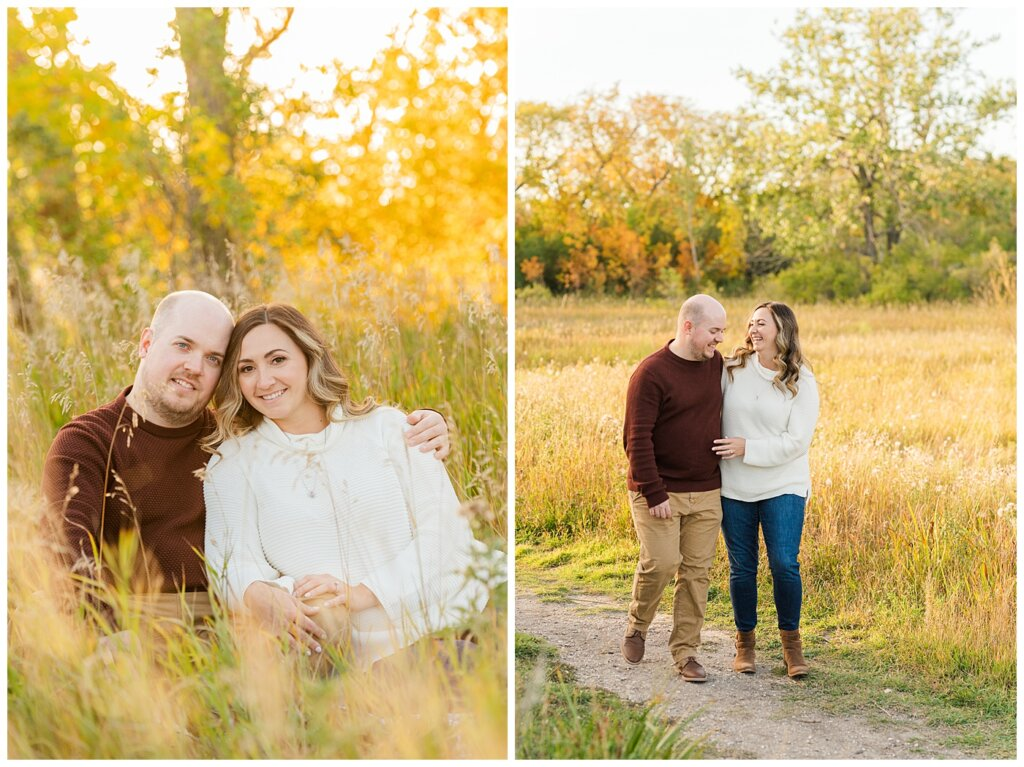 Trevor & Kim - Regina Engagement Session - Wascana Centre Habitat Conservation Area - 03 - Couple walking and laughing in field