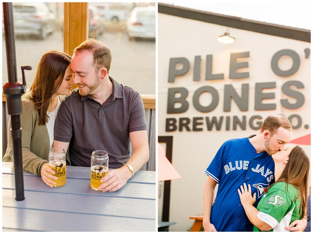 Andrew & Alisha - Engagement Session - 02 - Pile O'bones - Couple sitting with pints of beer