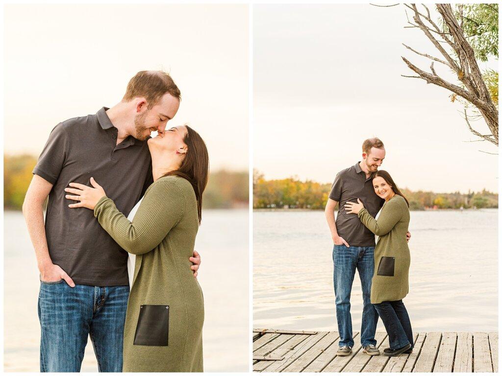 Andrew & Alisha - Engagement Session - 04 - Wascana Boathouse - Couple laughing and kissing on dock