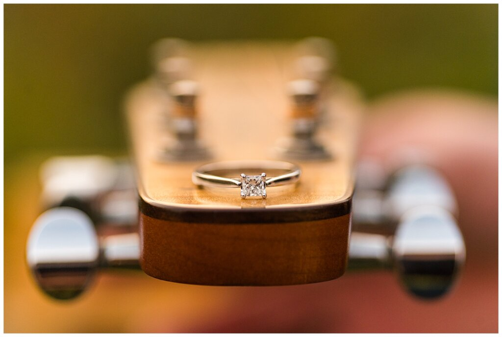 Andrew & Alisha - Engagement Session - 06 - Engagement ring on seagull acoustic guitar