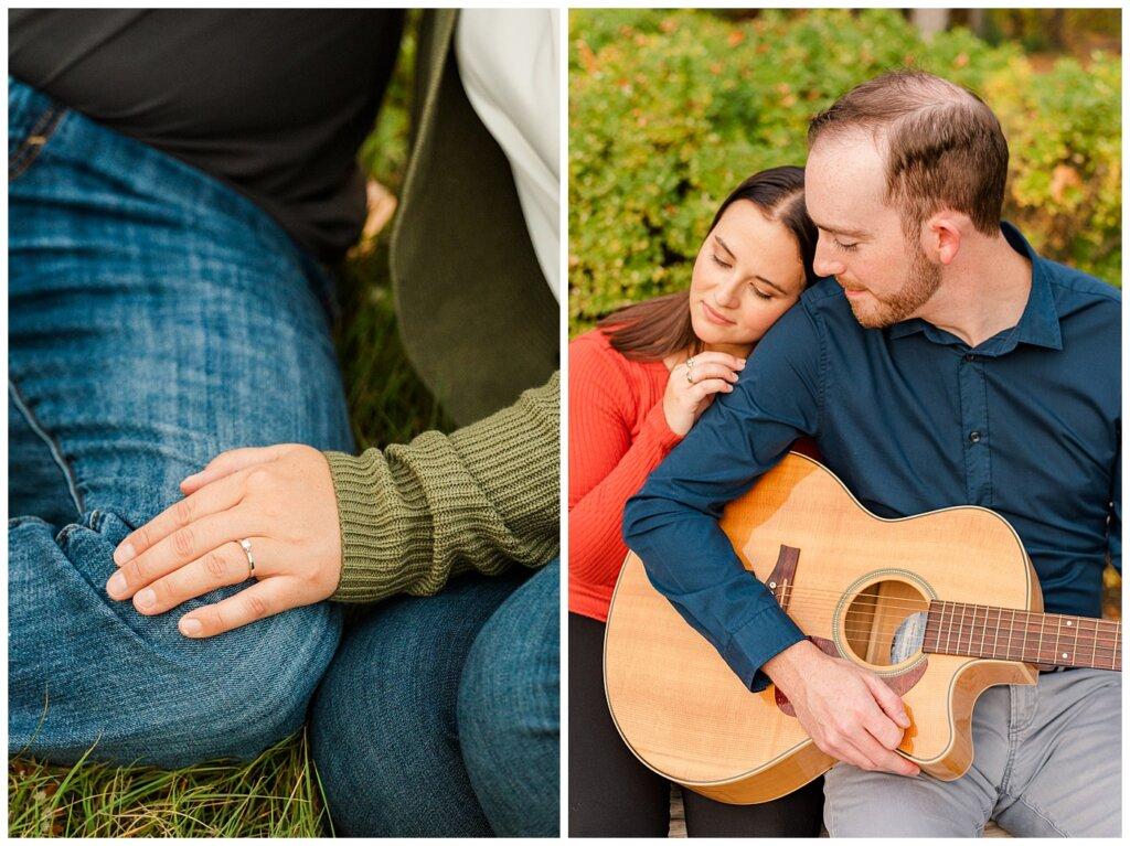Andrew & Alisha - Engagement Session - 07 - Trafalgar Overlook Fountain - Man plays guitar for fiancee