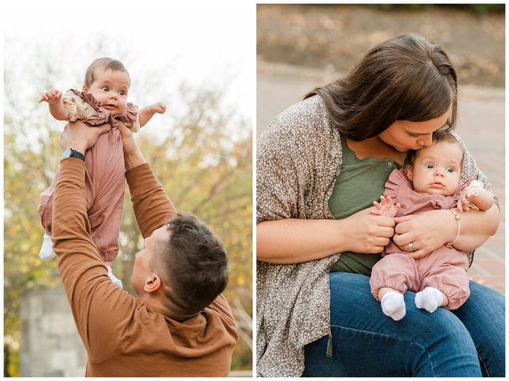 Filby Family - Regina Family Photography - Wascana Park - 08 - Dad lifting baby up and baby sitting with mom on steps
