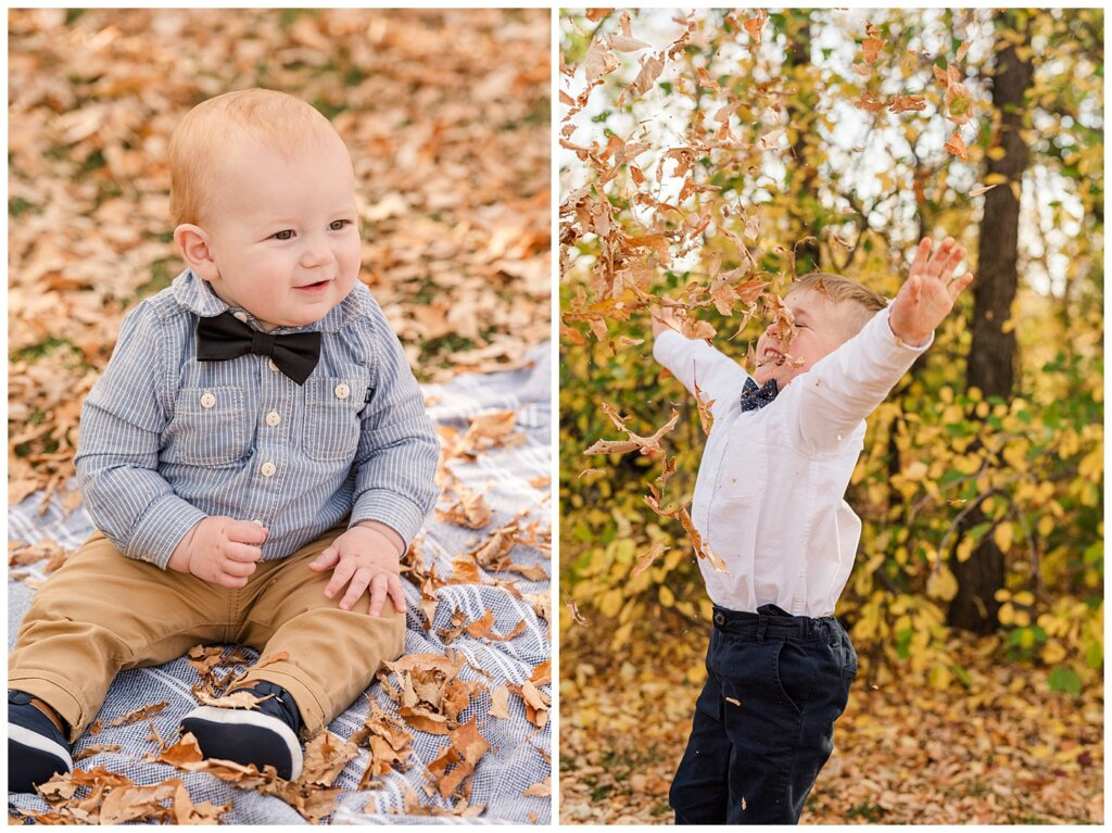 Nickel Family - Regina Science Centre - Family Photo Session - 02 - Infant smiling and older brother throwing leaves