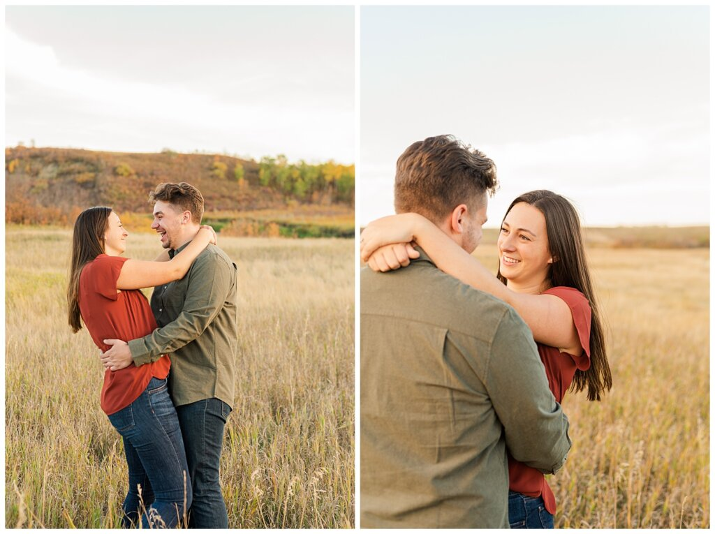 Tris & Jana - Engagement Session - Wascana Trails - 02 - Couple smiling and laughing together