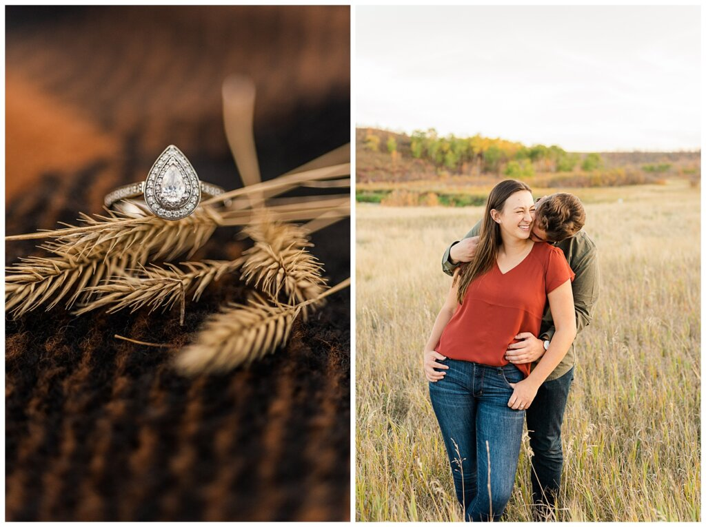 Tris & Jana - Engagement Session - Wascana Trails - 04 - Engagerment ring and man kissing girl's neck