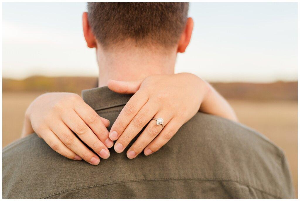 Tris & Jana - Engagement Session - Wascana Trails - 06 - Engagement ring behind Tris's neck