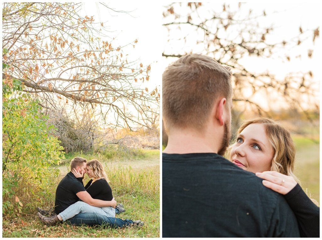 Tyrel & Allison - Regina Anniversary Session - Douglas Park Hill - 03 - Wife sitting on husband and staring into eyes