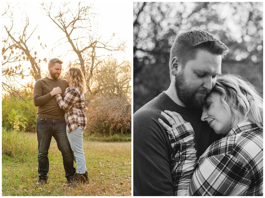 Tyrel & Allison - Regina Anniversary Session - Douglas Park Hill - 07 - Husband and Wife anniversary session cuddling and laughing